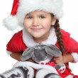 Portrait of happy little girl with toy in santa claus clothes — Stock fotografie