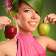 Pink with apple — Stock Photo