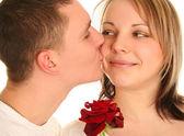 吻和玫瑰 — 图库照片