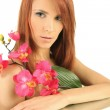 Woman with flower — Stock Photo #8820530