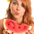 Smile with melon — Stock Photo
