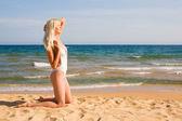 Woman bathing in sea — Stock Photo