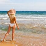 Slim blonde girl at beach — Stock Photo