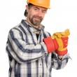 Smiling construction worker - Stock Photo