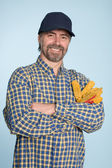 Cheerful man in cap — Stock Photo