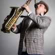 Saxophonist playing - Stock Photo