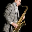 Man playing the saxophone — Stock Photo