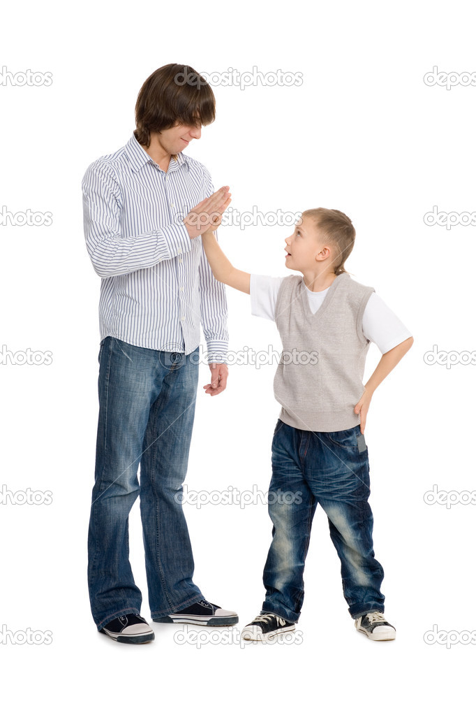 Elder and younger brothers greet each other. — Stock Photo #8476034