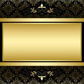 Golden vector frame on black vintage pattern — Stock Vector