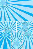 Blue backgrounds with radial rays - vector set — Stock Vector