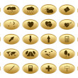 Gold web buttons - vector set — Stock Vector
