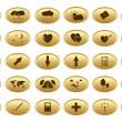 Gold web buttons - vector set — Stock Vector