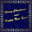 Dark blue vector christmas card with gold decor and frame — Imagens vectoriais em stock