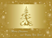 Vector golden background - merry christmas and happy new year — Stock Vector