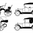 Set of the old isolated cars - vector — Stock Vector