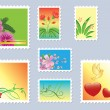 Set of floral postage stamps - vector — ベクター素材ストック