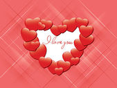 Vector red romantic card - I love you — Stock Vector