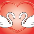 White swans and red heart - vector card — Stock Vector