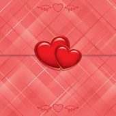 Red vector card sealed with hearts — Stock Vector