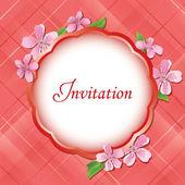 Rosa flores tarjeta invitational con el marco en el centro - vector — Vector de stock