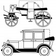 Set of silhouettes of old cars - vector — Stock Vector
