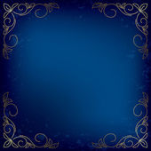 Dark blue vector card with gold decor — Stock Vector