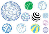 Set of vector globes and balls — Stock Vector