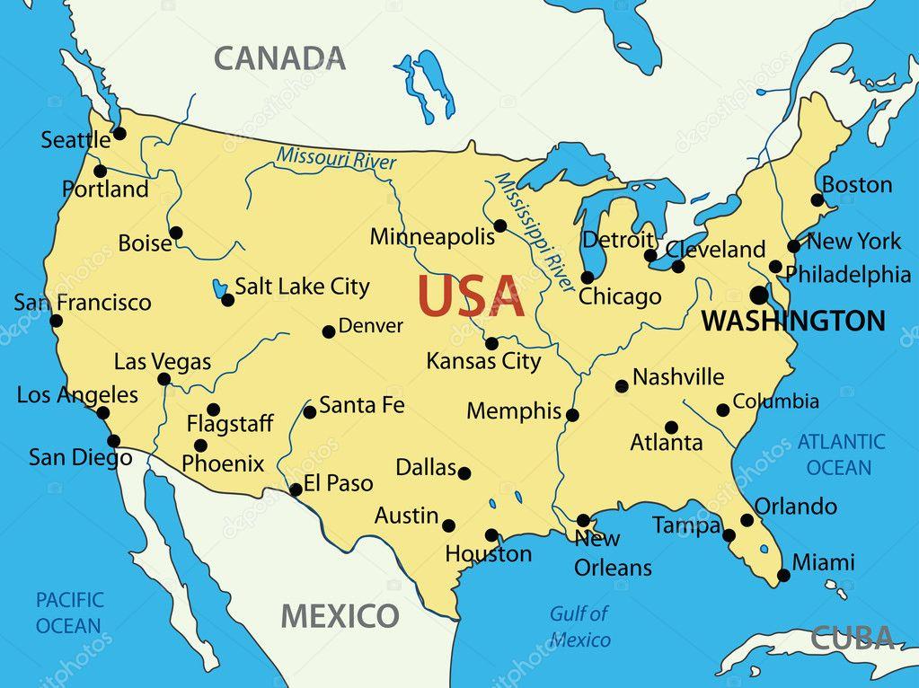 美国-矢量地图