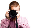 Man with camera — Stock Photo