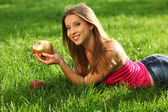 Woman with moneybox — Stock Photo