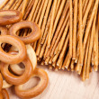 Bread ring and breadsticks - Stock Photo