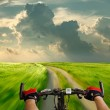 Man with bicycle riding country road — Stock Photo