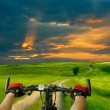 Man with bicycle riding country road — Stock Photo #8019743