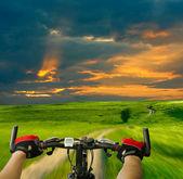 Hombre con carretera bicicleta montar a caballo — Foto de Stock