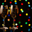 Two wine glasses on holiday background - Stock Photo