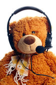 Child's call centre employee wearing a headset — Foto Stock