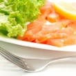 Salted salmon on white plate — Stockfoto