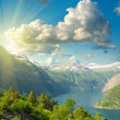 Summer landscape. Blue sky, mountains and fjord — Stock Photo #9345780