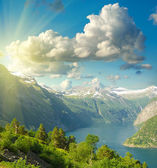 Summer landscape. Blue sky, mountains and fjord — Stock Photo