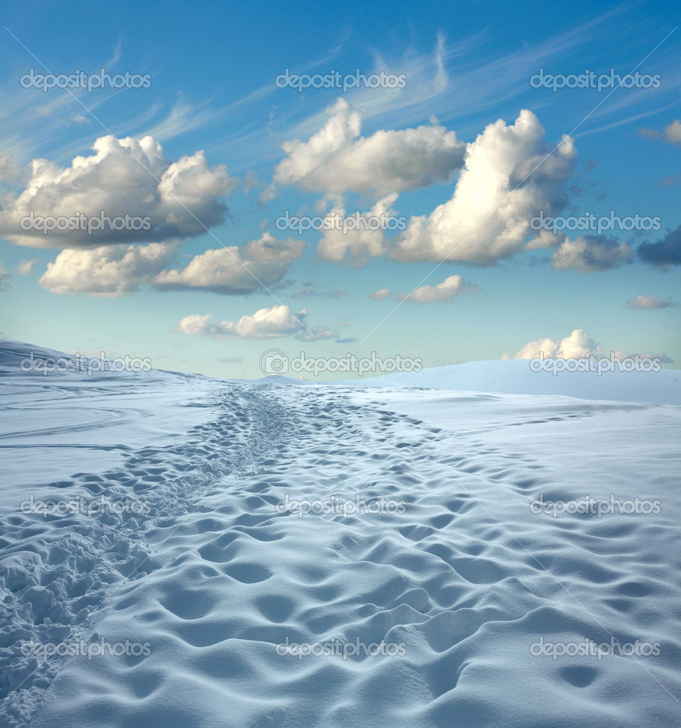 Winter landscape. Snow and blue sky  Stock Photo #9345787