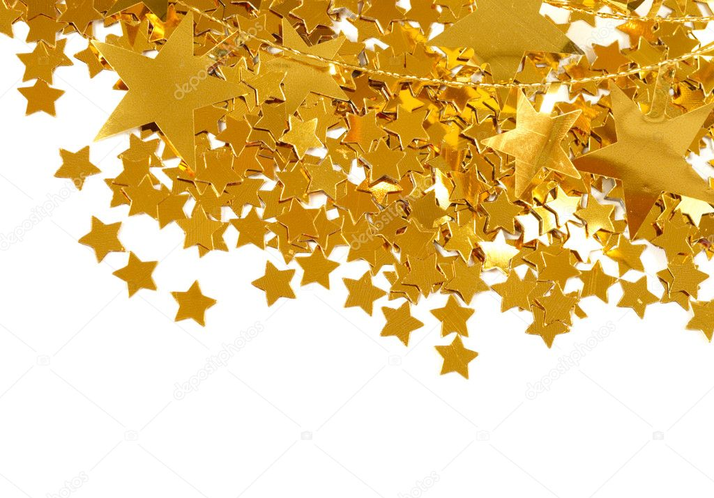Golden stars isolated on white background — Foto Stock #9821179