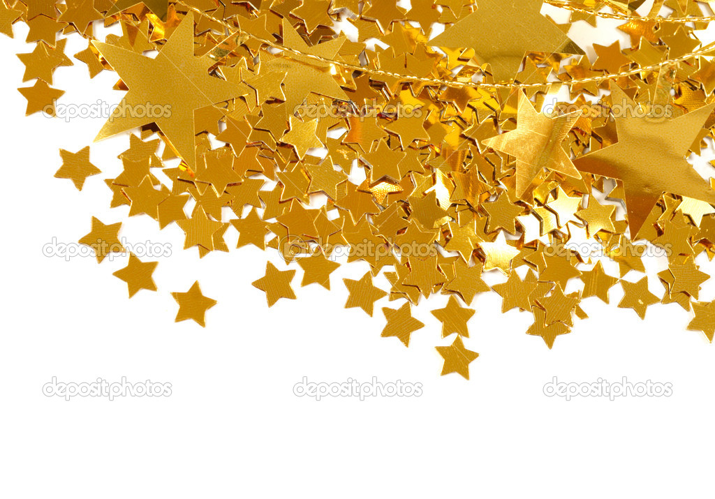 Golden stars isolated on white background  Zdjcie stockowe #9821179