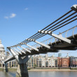 Millennium Bridge and St.Pauls Cathedral — Stok fotoğraf
