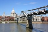 Millennium Bridge and St.Pauls Cathedral — Stock Photo