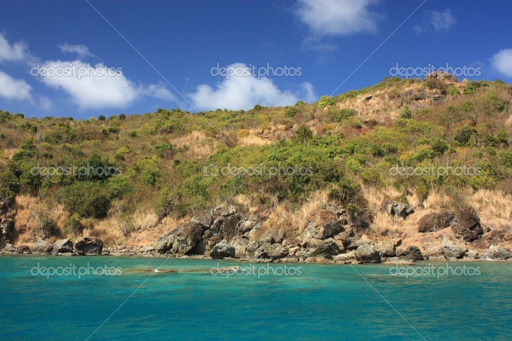 Clear torquoise water and tropical caribbean island — Stock Photo #9687516