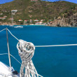 Nautical rope hanging on the sailboat — Lizenzfreies Foto