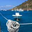 Stock Photo: Nautical rope hanging on sailboat