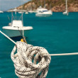 Nautical rope hanging on the sailboat — ストック写真