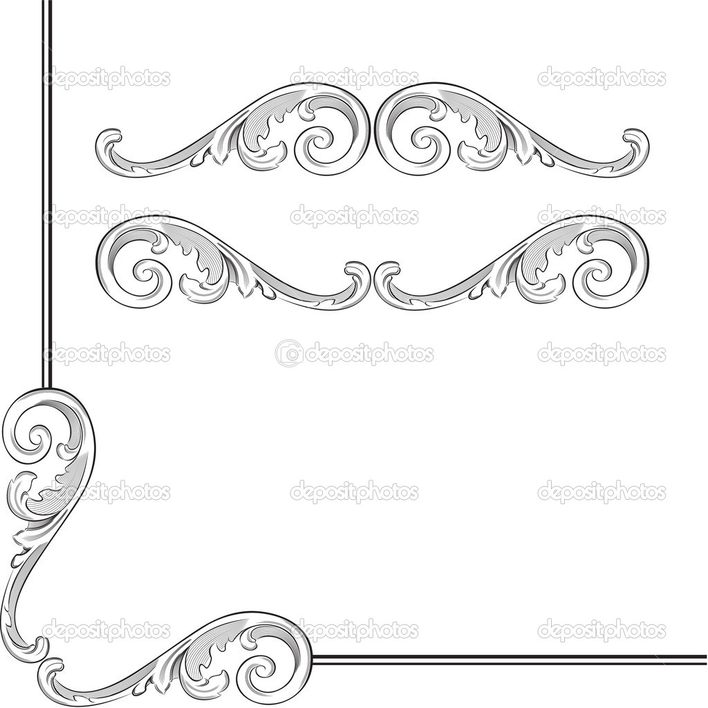 Elegance baroque elements for frame or ornament — Stock Vector #8571627