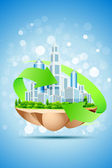 The Island of Green Business — Stock Vector
